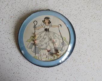 Vintage Little Bo Peep Hand Painted Wall Art Convex Bubble Glass Frame Cute Kitsch