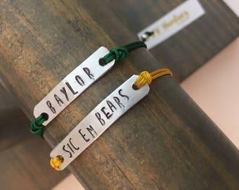 Baylor Bears / Hand Stamped bar on adjustable dainty cording