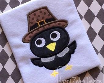 Pilgrim Black Bird Appliqué Embroidery Design - crow appliqué design - Thanksgiving appliqué design - Pilgrim appliqué design