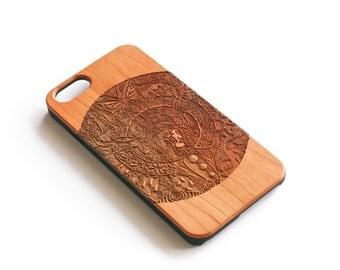 iPhone 7 Case Wood, Antlers, Illuminati, Wooden iPhone 7 Case, iPhone Case Wood, Real Wood, Wooden iPhone Case, Illuminati, Cherry Wood