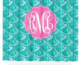 Monogram Shower Curtain | Mermaid Scales | Shower Curtain | Bathroom Decor