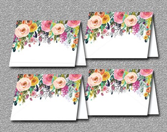 Floral Baby Shower Food Tent Cards or Place Cards Printable, Girl Baby Shower - Boho Baby Shower, INSTANT DOWNLOAD 020