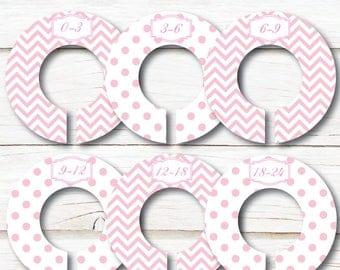 Baby Closet Dividers, Closet Organizers, Girl closet dividers, Baby shower gift, Pink White chevron dots, Kids Clothes divider, nursery C162