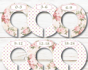 Baby Closet Dividers, Floral Closet Dividers, Closet Organizers, Baby shower gift, Pink Closet divider, Girl Nursery, Newborn gift, C138NS
