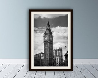 Big Ben Print, London Photography, London Print, Black and White, Travel Photography, London Art