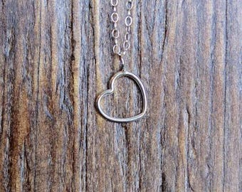 Open Heart Necklace.  Sterling silver heart necklace.