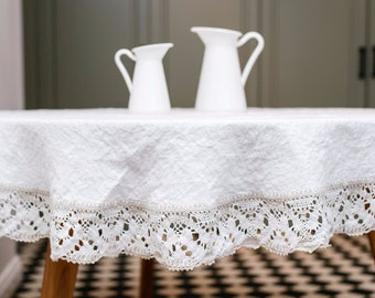 Linen Tablecloth, White Round Linen Tablecloth, Linen Christmas Tablecloth  Round, Dining Tablecloth In