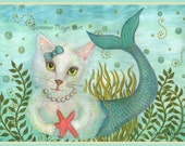 Enchanting MerPurr, a mermaid cat in the sea, with a starfish, ocean blue, card or print  Cats, Drawing with Watercolor Accents, Item #0522a