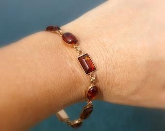 """Amber Bracelet 14kt ~ Vintage unworn Baltic Amber Bracelet in solid 14kt, 7.5"""" Length"""