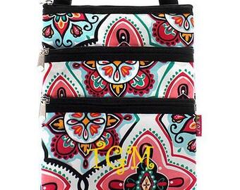 Monogrammed Crossbody Bag Pink Medallion Messenger Bag  Personalized Crossbody Bag