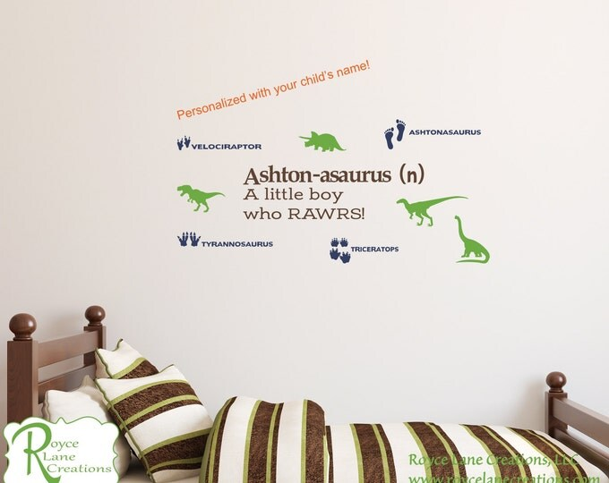 Dinosaur Wall Decal with Personalized Name