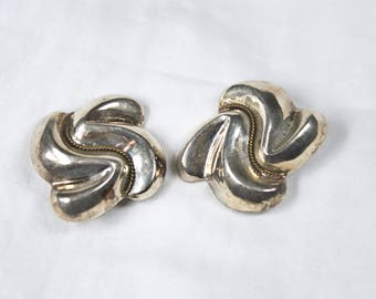 Vintage 925 Sterling Silver Large Chunky Statement Knot Abstract Clip On Earrings