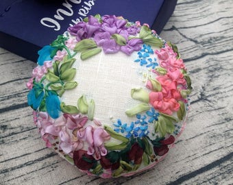 Pin cushion silk ribbon embroidery