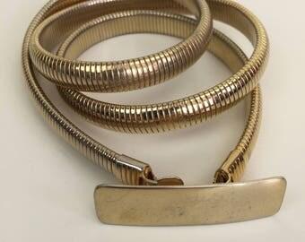 gold snake chain skinny stretch belt 80s