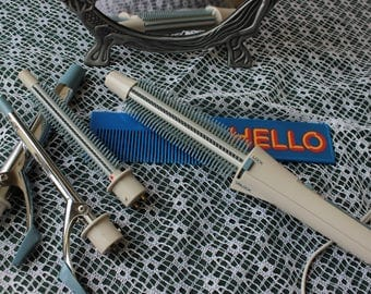 """1982 Vintage Deluxe Mini / Maxi Professional Styling """"Four-in-One"""" Set of Curling IRONS and BRUSHES ~ Blue & White"""