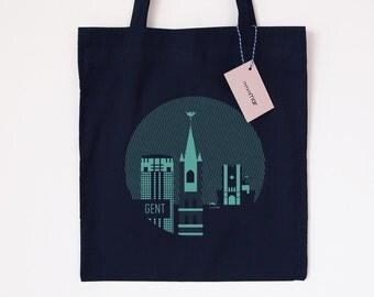 Tote Bag Ghent 02 - Screenprint - Handmade - Illustration - Dark blue