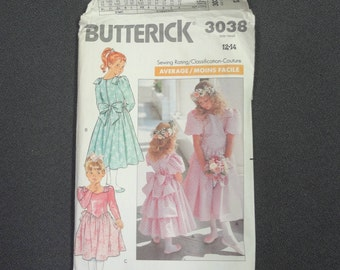 Butterick 3038 Girls Dress Size 12-14 from 1988
