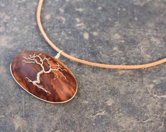 Tree-Of-Life necklace. tree of life pendant. wooden pendant. wooden tree of life. leather necklace. Handmade jewelery. wood jewelery. Tree