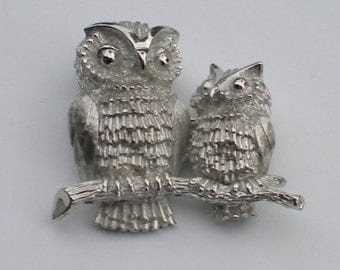Vintage 70s Crown Trifari signed Silver Owls Pair Brooch Pin Owl Brooch Pin Bird Brooch Pin FREE Shipping