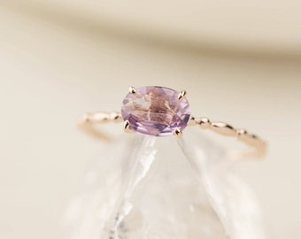 Unheated natural purple sapphire ring in 14k rose gold, Oval unheated purple sapphire ring, solid 14k rose gold, mothers day gift, can-r101
