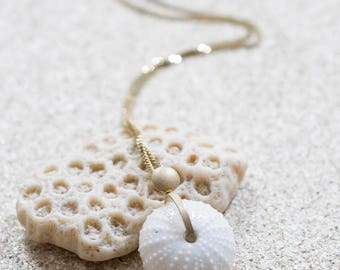 SEA URCHIN Necklace, Shell Necklace, Porcelain Jewelry, Porcelain and gold Necklace,  maritime jewelry, porcelain pendant, shell Necklace