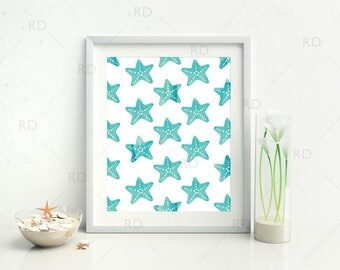 Starfish Watercolor - PRINTABLES / 3 for price of 1 / beach wall art / nautical art / watercolor art / Starfish Pattern / Starfish Wall Art