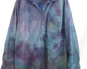 Plus size up cycled hand dyed woman's blouse, 3X  heavyweight turquoise cotton shirt jacket, artsy hippie oversized tunic, beach cover up