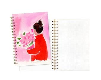 Gold Spiral Notebook: Pink Bunch