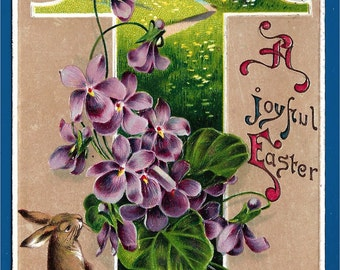 Vintage Embossed Easter Postcard - Easter Rabbit Sniffing the Violets With A Joyful Easter Wish  (2326)