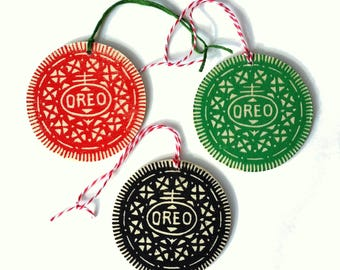 Wooden Oreo Ornaments (Pack of 3), Linocut, Handprinted