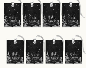 Printable Christmas Tags - Let It Snow Christmas Gift Tags - Tags - Chalkboard Christmas Tags - Holiday Gift Tags