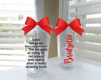 Book hangover tumbler -perfect for all book lovers.  Kindle, nook, paperback, avid reader