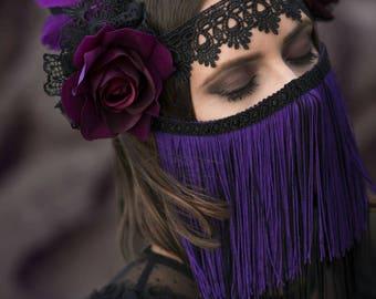 Black and Purple Feather Headdress - Nerezza