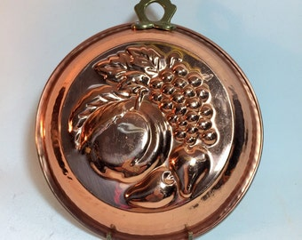 Vintage Solid Copper Jello Cooking Mold Kitchen Wall Decor Fruit Design