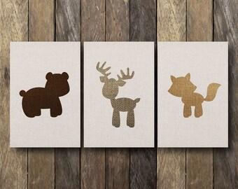 4x6 Nursery Printables - Forest Animal Nursery Art