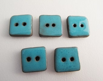 Blue turquoise buttons, 5 square buttons, Céramic buttons,  Handmade Stoneware Buttons, Sewing Supplies