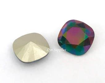 4470 RAINBOW DARK 12mm Swarovski Crystal Fancy Stone Cushion Cut