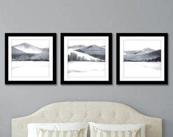 Print Set of 3 Prints, SQUARE Set of 3 Wall Art, Set of Three Prints, Wall art Set of 3 Watercolor Set, Painting Set of Art,Grey Black White