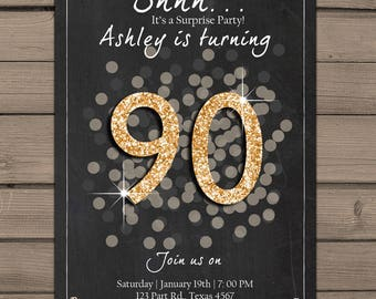 90th birthday invitation Gold Glitter Surprise Party Chalkboard adult surprise birthday Ninety Adult invitation ANY AGE PRINTABLE digital