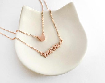 Cat and meow necklace (Shiny finish) - double chain necklace