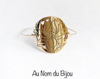 Bronze golden lotus flower bracelet