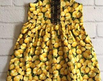Lemon Baby Dress, Yellow Girls Dress, Lemons Infant Dress, Spring Summer Girls Dress, Fruit Baby Dress, Lemon Girls Dress, Foodie Baby Dress
