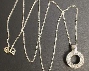 """Sterling Silver 925 CZ Round Pendant on Silver 18"""" Chain"""