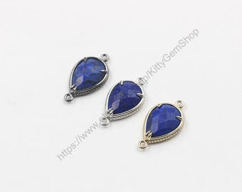 SALE 20mm Faceted Lapis Lazuli Connectors -- With Electroplated Gold Edge Charms Wholesale Supplies YHA-294-16