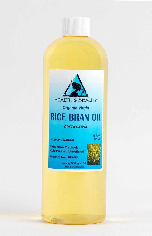 16 oz RICE BRAN OIL Organic Carrier Unrefined Cold Pressed