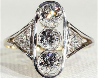 Antique Edwardian 3 Stone Diamond Ring in 18k Gold and Platinum, 1.7cttw