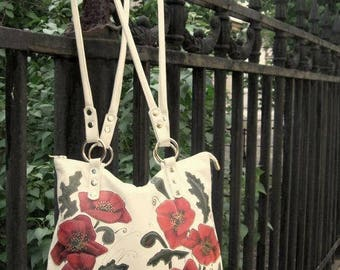 White Leather Bag Shoulder bag red white purse leather hobo bag Women's leather purse handmade Tote Bag hand painted poppies leather mom bag