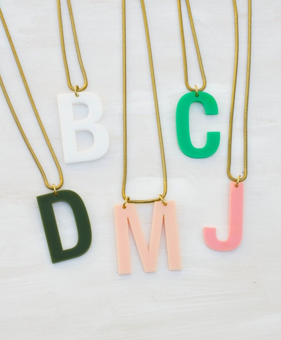 Acrylic initial necklace personalized necklace gift for her for Acrylic letter necklace