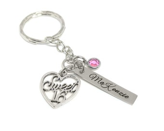 Sweet 16 Key Chain -Personalized Hand Stamped Birthday Girl Name Tag - First Time Driver - Sweet Sixteen Gift