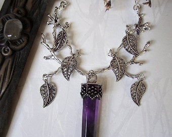 Amethyst Antler Necklace, Branch Necklace, Amethyst Crystal Point, Leaf Necklace, Wild, Witchy